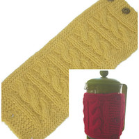 """French Press Pot Cozy, Gold Hand Knitted Cable Pattern Cafetiere Cozy, Fits Beaker 12"""" (30.5cm) Circumference, Free US Shipping"""
