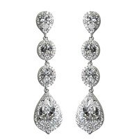 Chloey Droplet Dangle Chandelier Earrings | 6ct | Cubic Zirconia | Silver