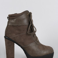 Wild Diva Lounge Round Toe Lace Up Heeled Platform Booties