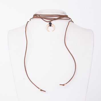 Golden Horn Wrapped Necklace