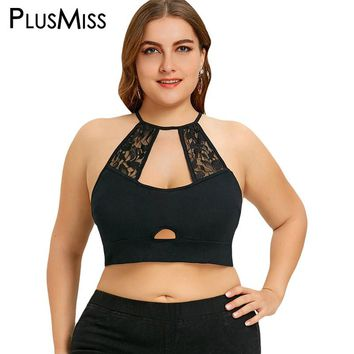 PlusMiss Plus Size 5XL Sexy Lace Crochet Trim Cut Out Camisole Black Halter Crop Top Strappy Bralette Women Cami Summer Tops