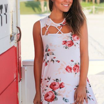 White Floral Sleeveless Cut Out Short Dress
