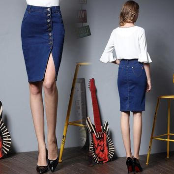 Women Bodycon Jeans Skirt Denim Women Sexy midi Straight Skirt Solid Pencil Button Casual Knee-Length Bleached Skirt