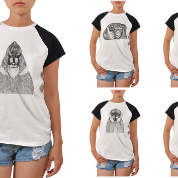 Women Hand Draw Monkeys Printed Short Sleeves T-shirt WTS_04