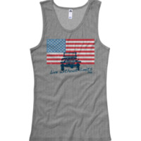 """Jeep American Flag """"Live Without Limits"""" Junior's Gray Tank"""