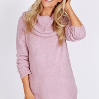 Soft Cowl Neck Sweater Mauve