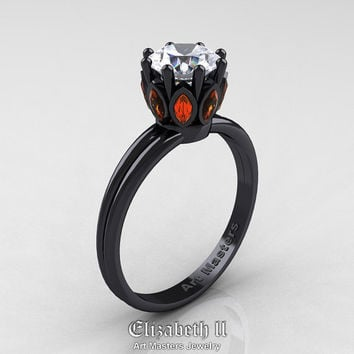 Elizabeth II - Classic 14K Black Gold Marquise Orange Sapphire 1.0 Ct Round Diamond Solitaire Ring R90-14KBGOSD