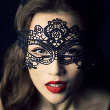 Black Halloween Masquerade Party Crochet Lace Mask