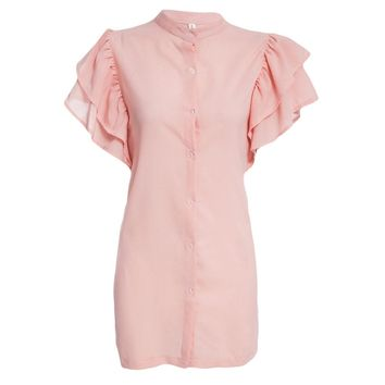 Sweet Round Collar Butterfly Sleeve Pure Color Button Design Mini Dress for Women
