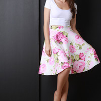 High Waist Neoprene Circle Skirt