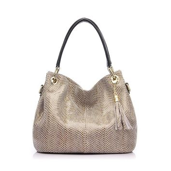Genuine Leather Reptile Print Shoulder Bag