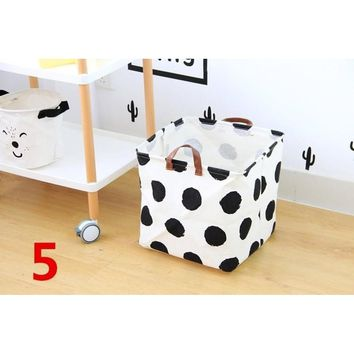 Durable Square Canvas Toy Storage Bins Basket with Handle Collapsible Toy Organizer for Nursery Storage, Kid's Toy & Laundry, Yo