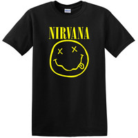 Nirvana T-SHIRT smiley face rock band tee
