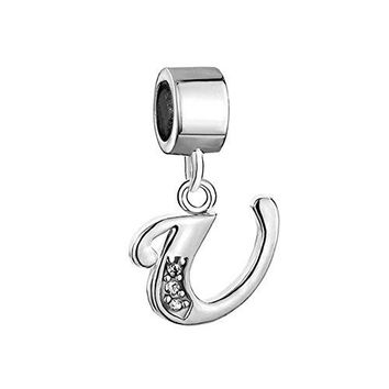 Pugster Silver Plated Letter Initial AZ Dangle Alphabet Synthetic Crystal Bead Fits Charms Bracelet