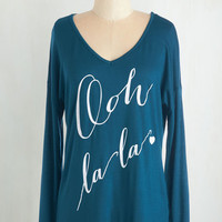 French Mid-length Long Sleeve Hold the Francophone Top