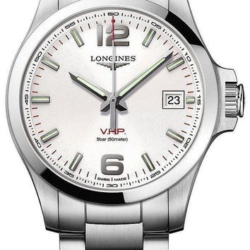 New Longines Conquest V.H.P. Silver Dial Mens 43mm Steel Watch L37264766