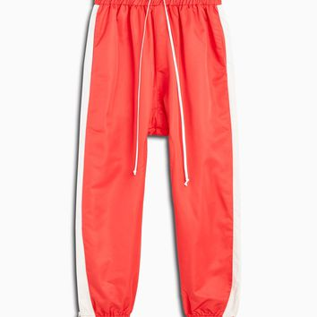 parachute track pant / red + ivory