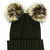 FAKE LOVE KHAKI KNITTED DOUBLE FAUX FUR POM POM HAT