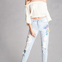 Embroidered Distressed Jeans