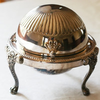 F.B.Rogers Silver CO. ~ Domed Clam Roll Top BUTTER DISH w/Glass Insert+Lion Legs