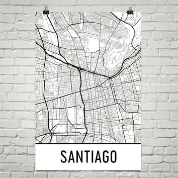 Santiago Chile Street Map Poster