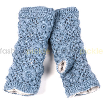 Oslo Crochet Handwarmer/Fingerless Gloves  - Ice
