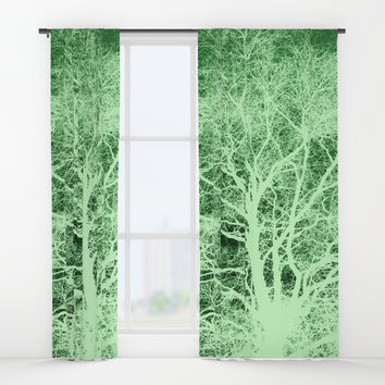 Green tree silhouette Window Curtains by steveball