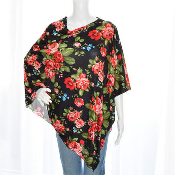 Roses Floral Poncho/ Nursing Cover/ Nursing Poncho / Lightweight Shawl/ One shoulder tunic top / New Mom Gift