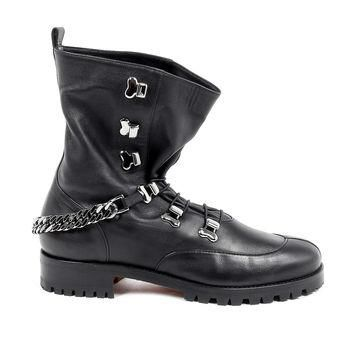 Black 38 EUR - 8 US Christian Louboutin Womens Short Boot HORSE GUARDA FLAT CALF