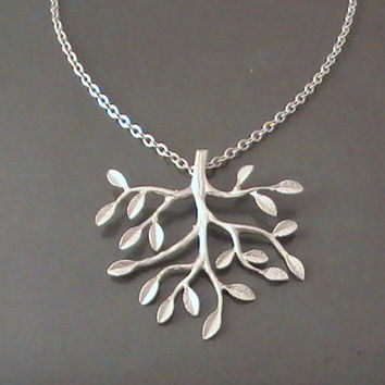 Tree Necklace, Tree Pendant, Tree Charm, Tree Of Life, Silver Necklace, Leafy, Branch, Modern, Bestfriends Gift by Crystalshadow on etsy