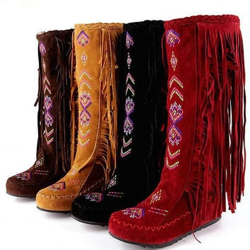 Stylish Leather Fringe Fashion Boots