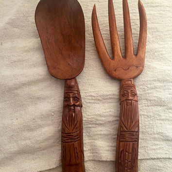 Rare Gnome Salad Servers - Hygge - carved wood salad servers - vintage Scandinavian salad servers - rustic - farmhouse - face - boho home