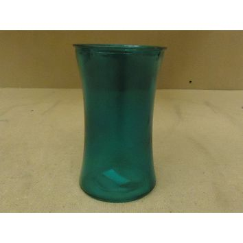 Designer Flower Vase Decorative 6 1/2in H x 3 1/2in D Green Modern Round Curved Glass -- New
