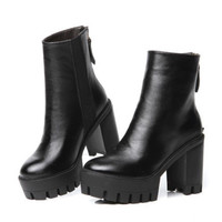 Punk Cut Out Chunky Heel Platform Thick Sole Leather Creeper Ankle Boots Shoes
