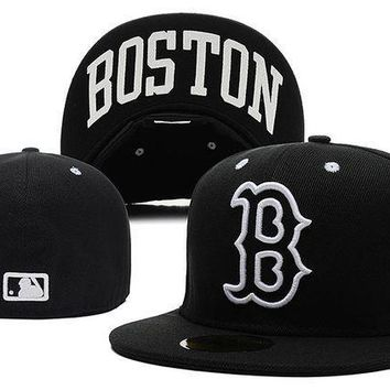 CREY8KY Boston Red Sox New Era MLB Authentic Collection 59FIFTY Hats Black-White