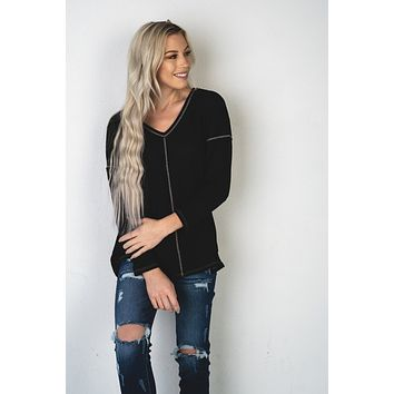 Thermal Waffle Knit V Neck Top in Black
