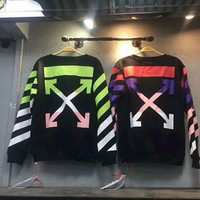 ONETOW OFF-White Fashion Casual Round Neck Splicing Long Sleeve Sweater Pullover Sweatshirt G-CN-CFPFGYS