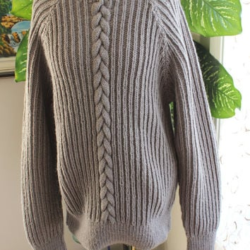 Ready to ship /Gorgeous Hand Knitted-HANDMADE Gray sweater for women or men/unisex