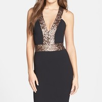 Women's Dress the Population 'Rylee' Sequin Strap Crepe Body-Con Dress