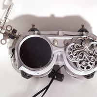 Silver Steampunk Goggles with Gears Octopus Jeweler's Loops and more!