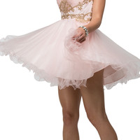 Thick Straps Poofy Embellished Sweet Sixteen Party Dress Blush