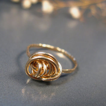Promise ring, Gold knot ring, 14k gold filled ring, wire wrapped jewelry