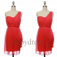 Custom One Shoulder Red Chiffon Short Bridesmaid Dresses 2014 Prom Dresses Formal Evening Gowns Wedding Part Dresses Fashion Party Dress