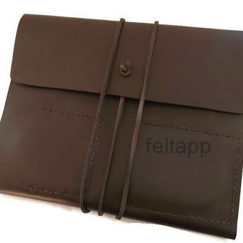 Leather Portfolio, iPad Mini Case, Leather Organizer, Business Portfolio, Leather Folio, Brown Full Grain Italian Leather, Hand Stitched
