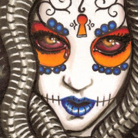 Day of the Dead Medusa original ACEO prints by ShayneoftheDead