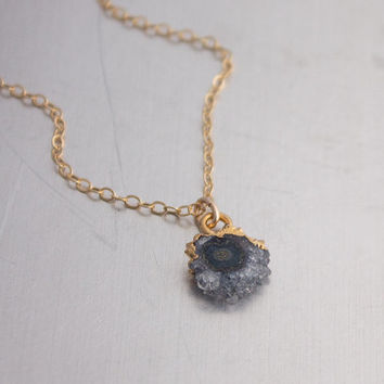 Amethyst Stalactite Druzy Crystal Slice Necklace- Gold Filled