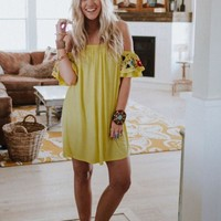 Sunshine Vibes Off The Shoulder Dress
