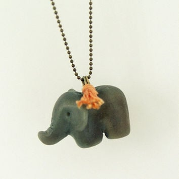 Baby elephant olive green necklace, polymer clay, pendant, animal necklace, peach thread, brass ball chain, feng shui symbol