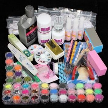 42 Acrylic Powder Liquid Brush Glitter Clipper Primer File Nail Art Tips Set Kit (6)