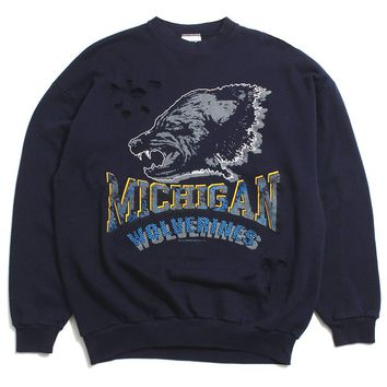 University of Michigan Wolverine Head Distressed Tultex Crewneck Sweatshirt Navy (XL)